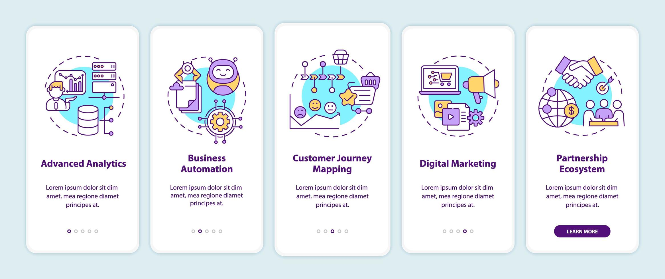 Componentes de consultoría digital incorporando la pantalla de la página de la aplicación móvil con conceptos vector