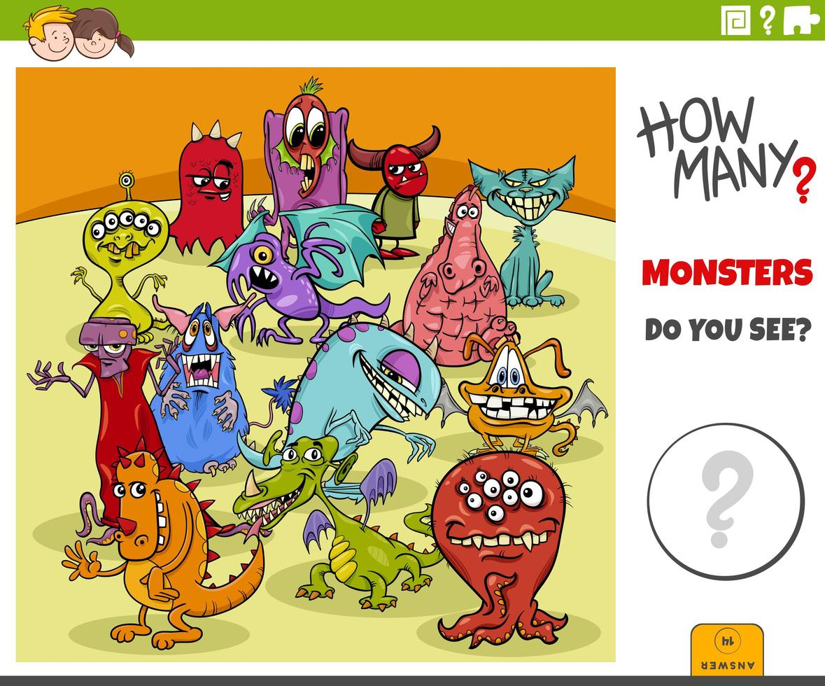 how many cartoon monsters educational game for kids vector