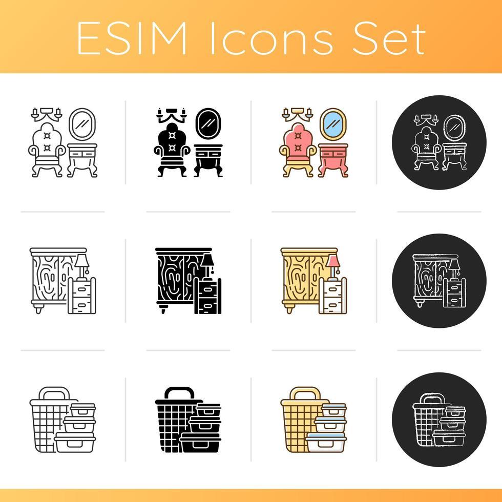 Home decor icons set vector