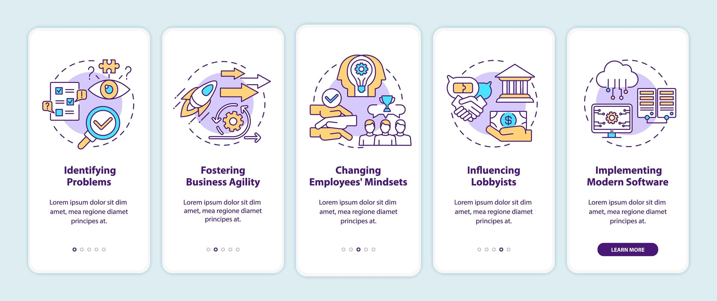 Business consulting tasks onboarding mobile app page screen with concepts vector