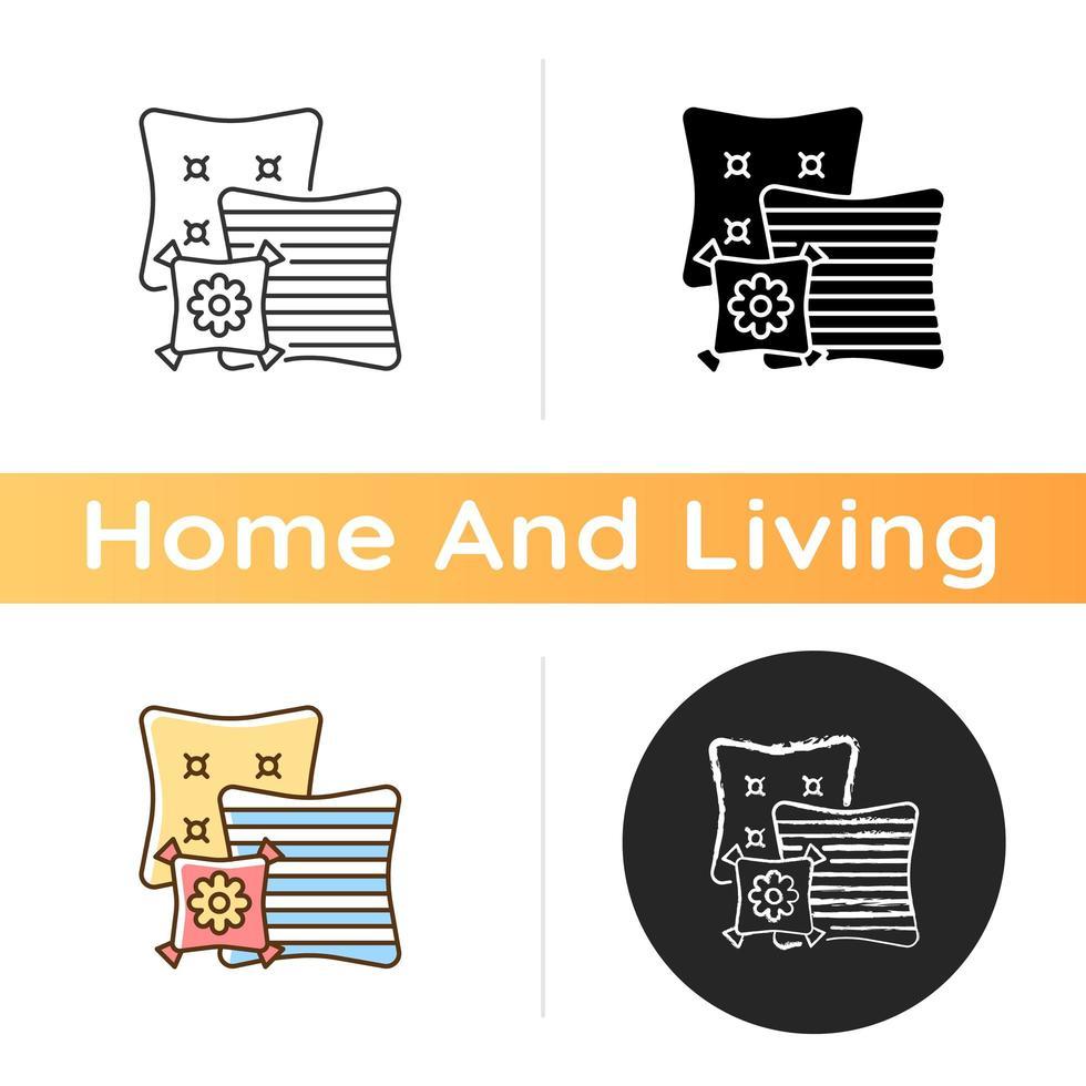 icono de almohadas decorativas vector