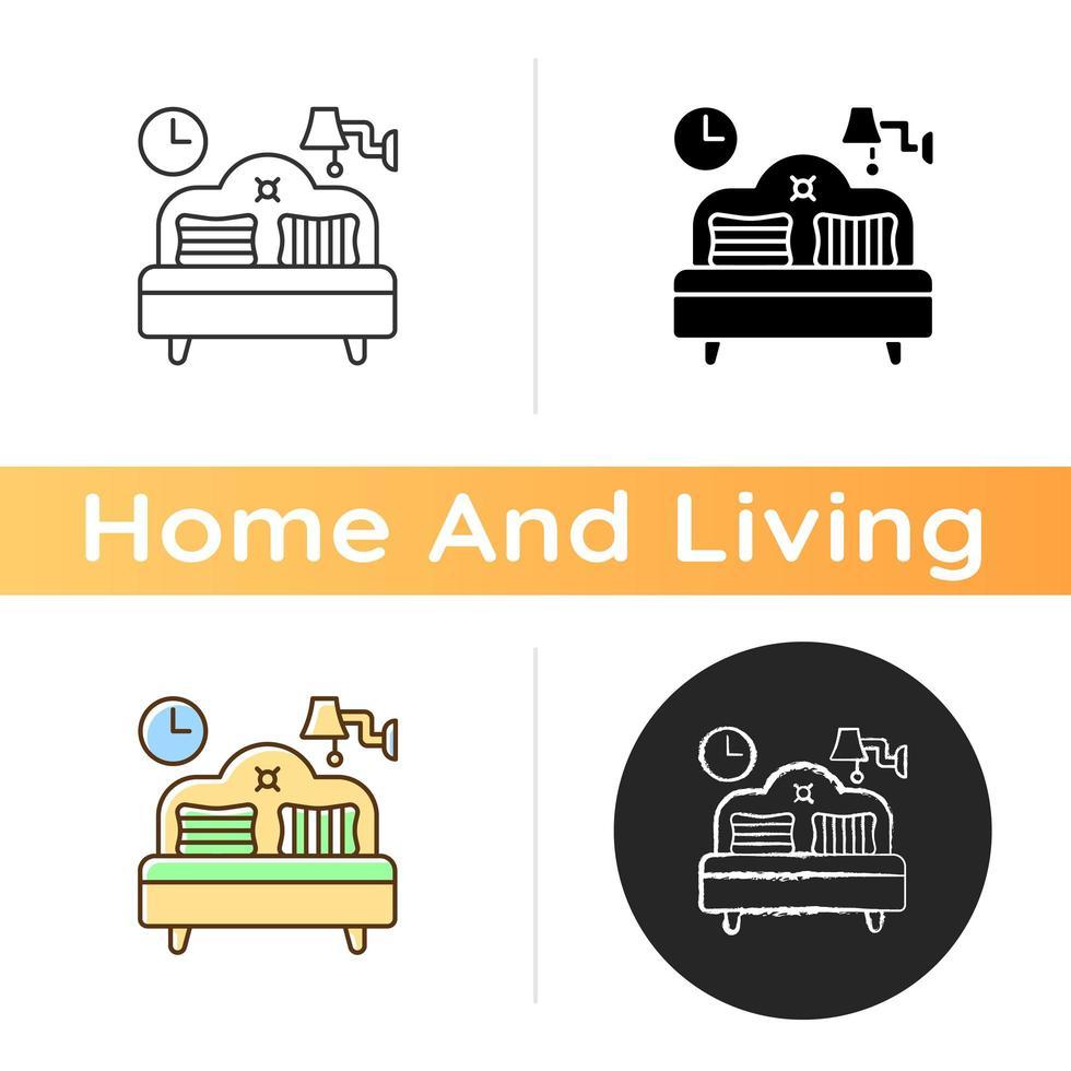 icono de muebles de dormitorio vector
