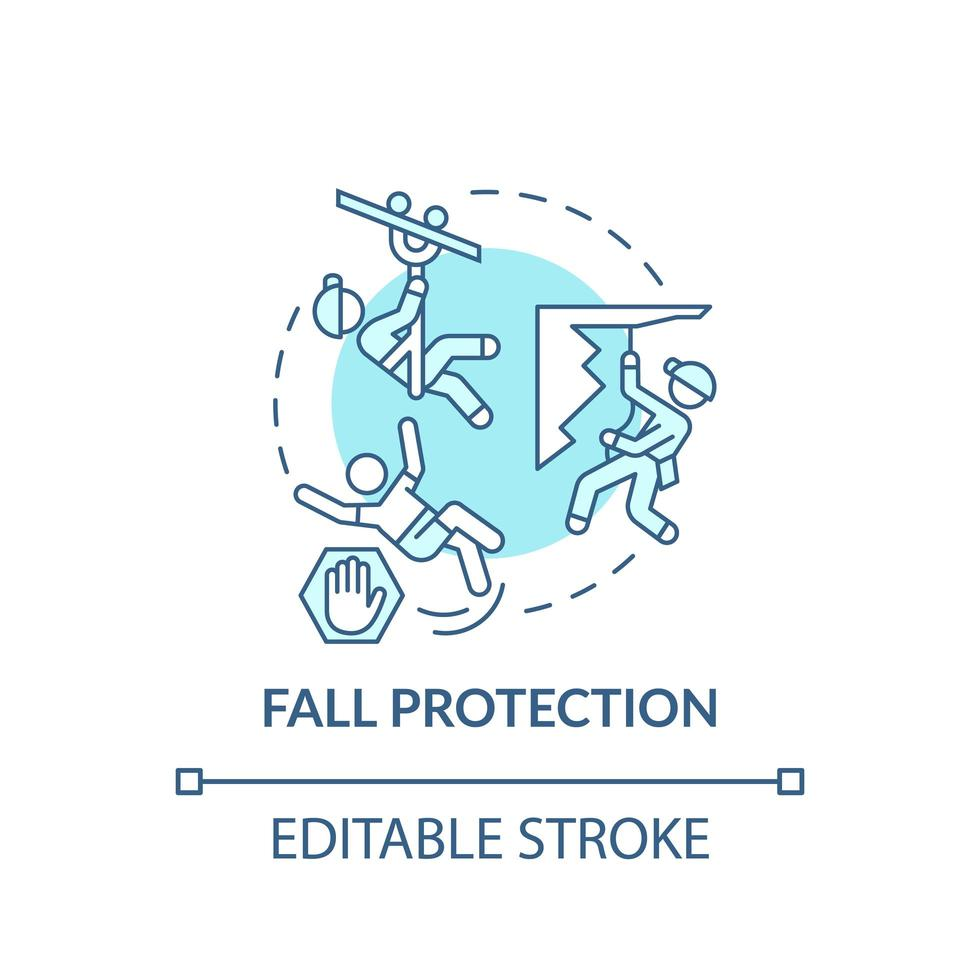 icono de concepto de protección contra caídas vector