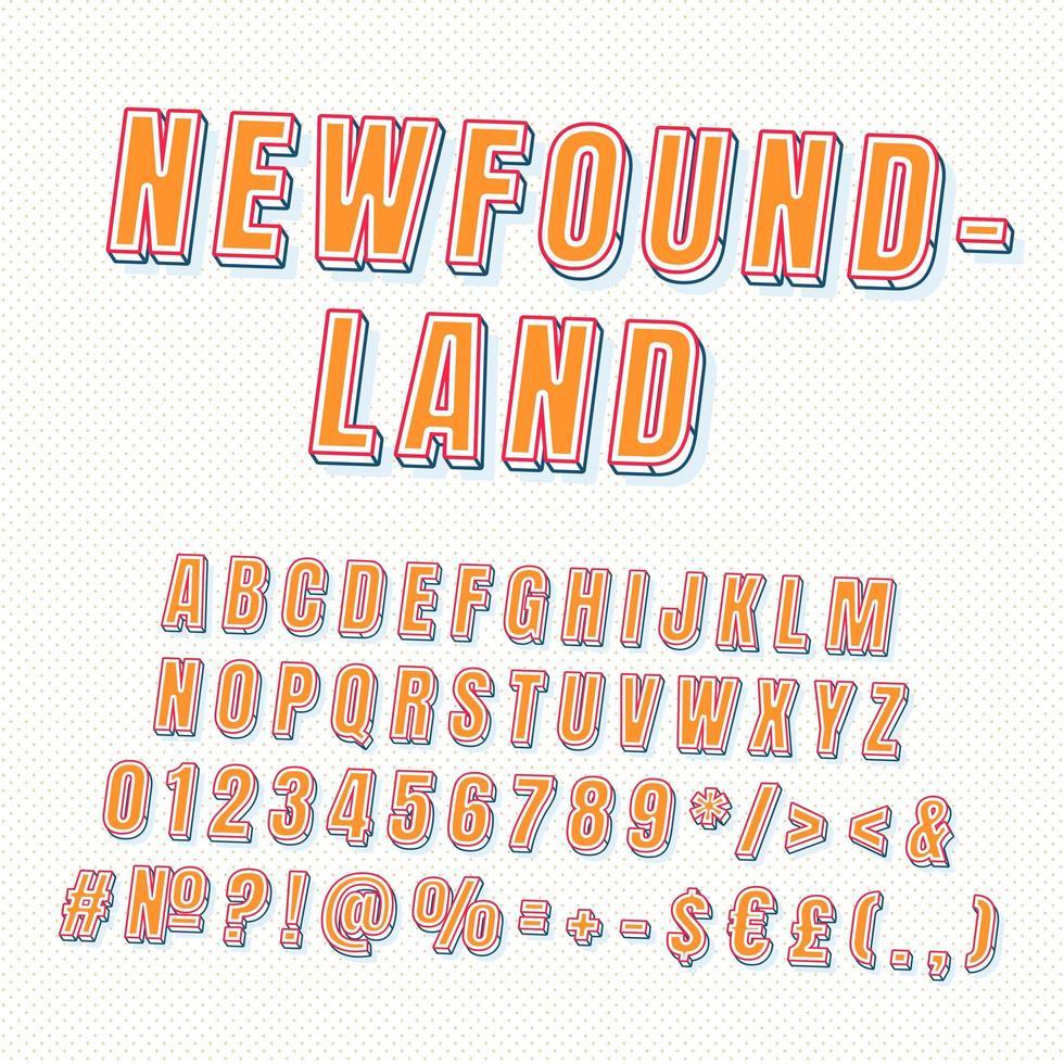 terranova, vendimia, 3d, vector, alfabeto, conjunto vector