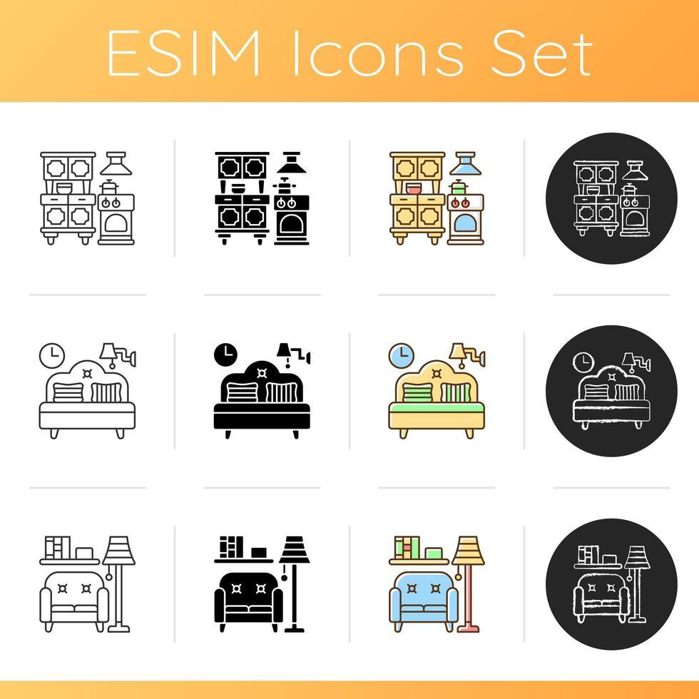 conjunto de iconos de hogar y vida vector