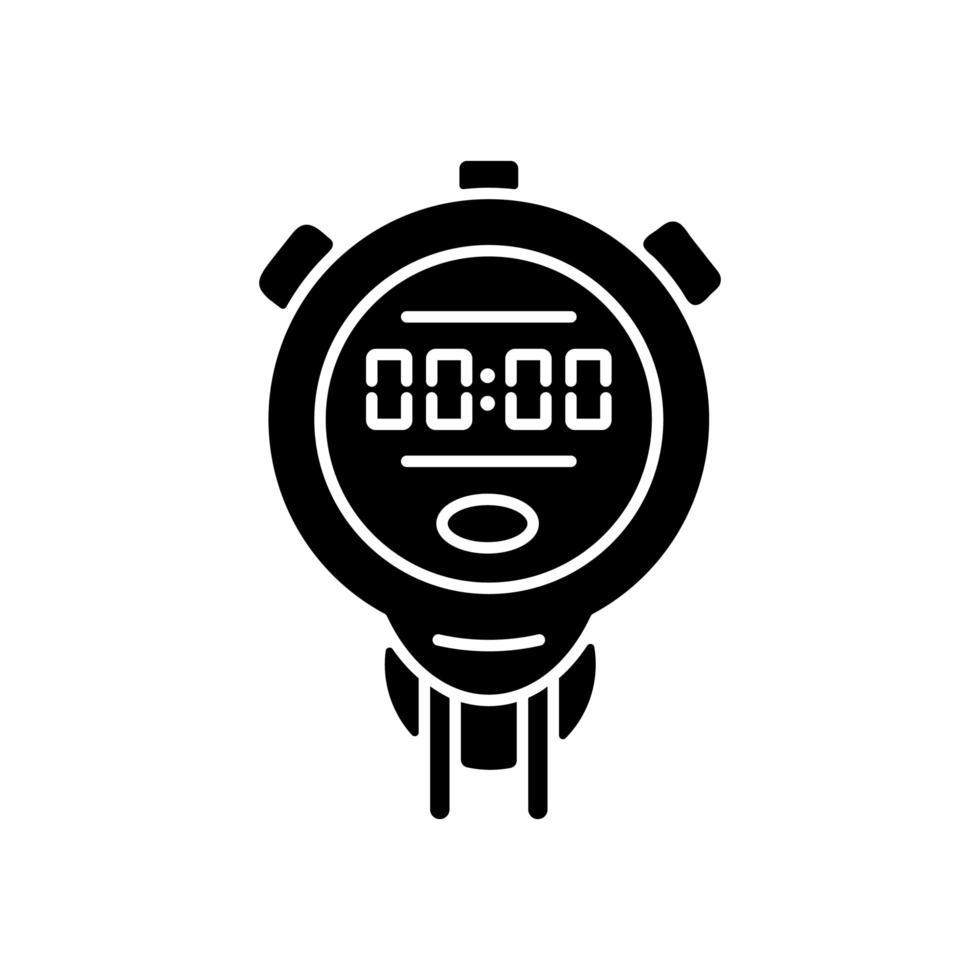cronómetro icono de glifo negro vector