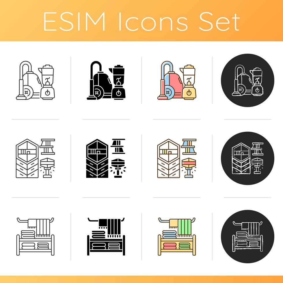 Home furnishing icons set vector