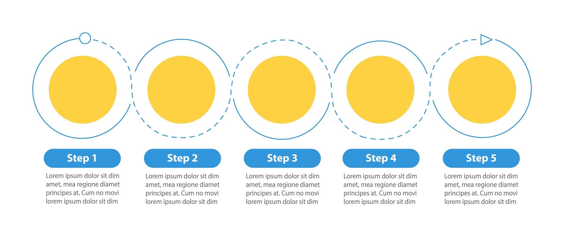 Plantilla de infografía de vector de diagrama de flujo redondo
