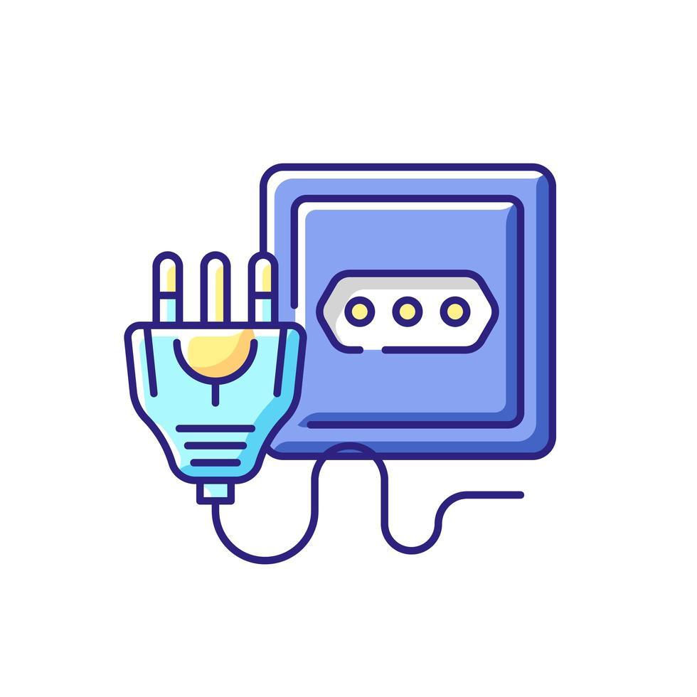 icono de color rgb de toma de corriente vector