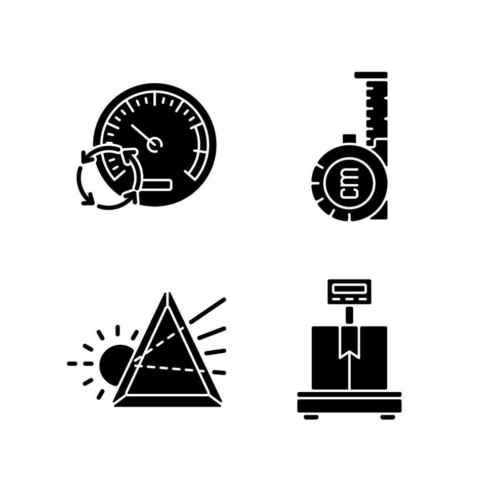 Herramientas de medición iconos de glifos negros en espacio en blanco vector