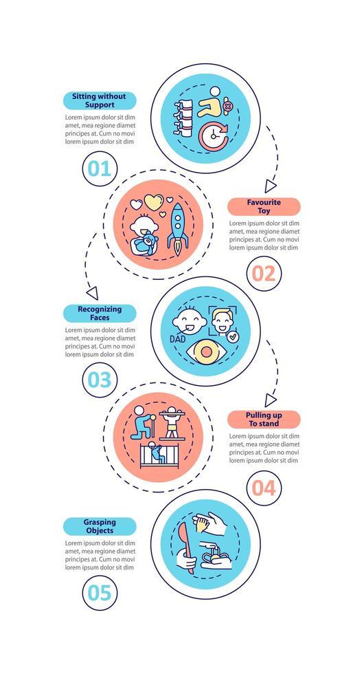 plantilla de infografía de vector de etapas de desarrollo de la primera infancia
