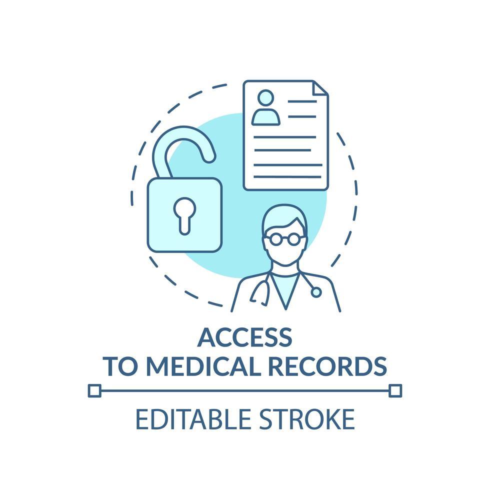 acceso al icono del concepto de registros médicos vector
