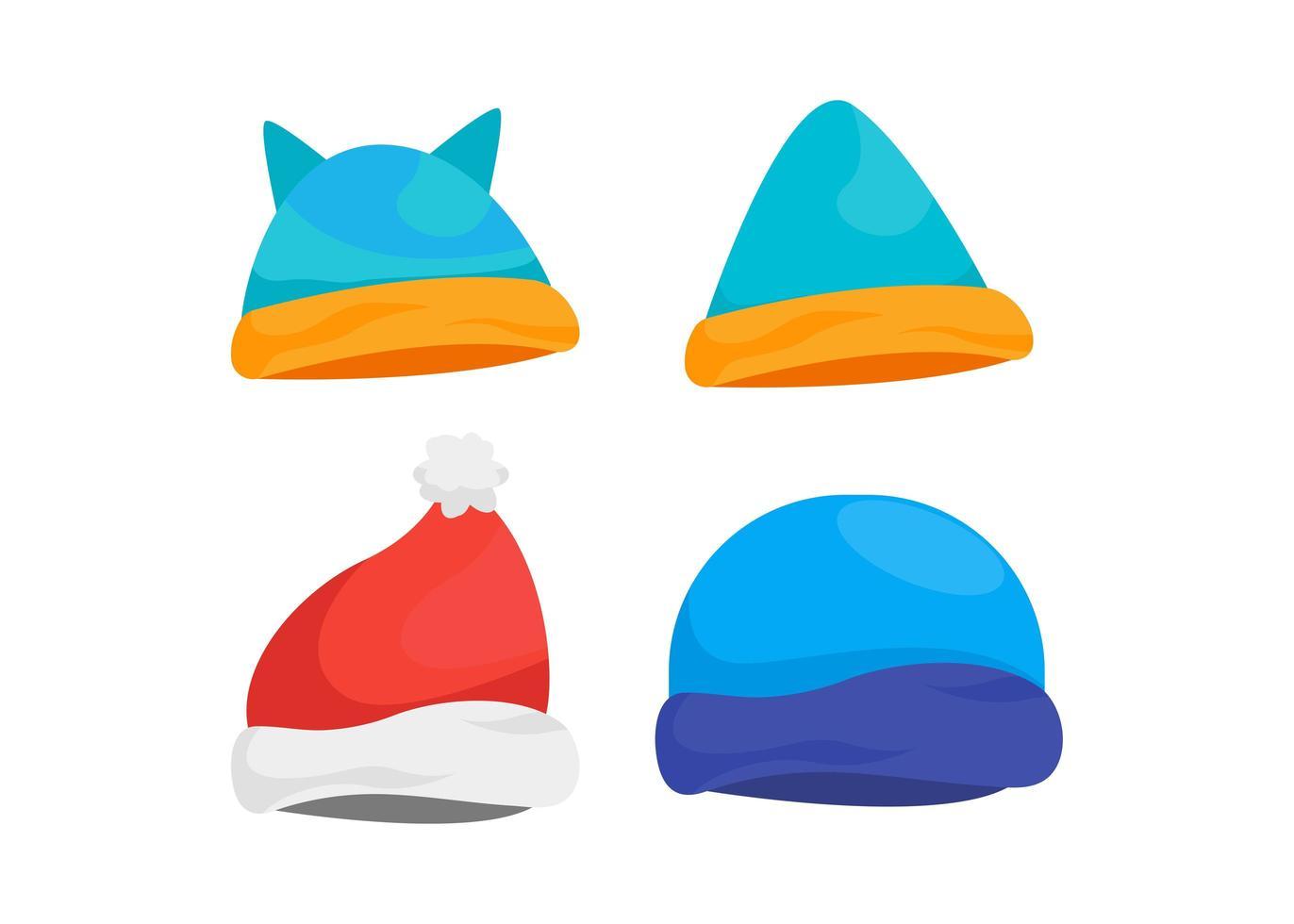 conjunto de diseño de icono de sombrero de invierno vector