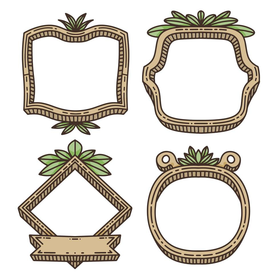 hand drawn Leaves and wooden comic frame design vector