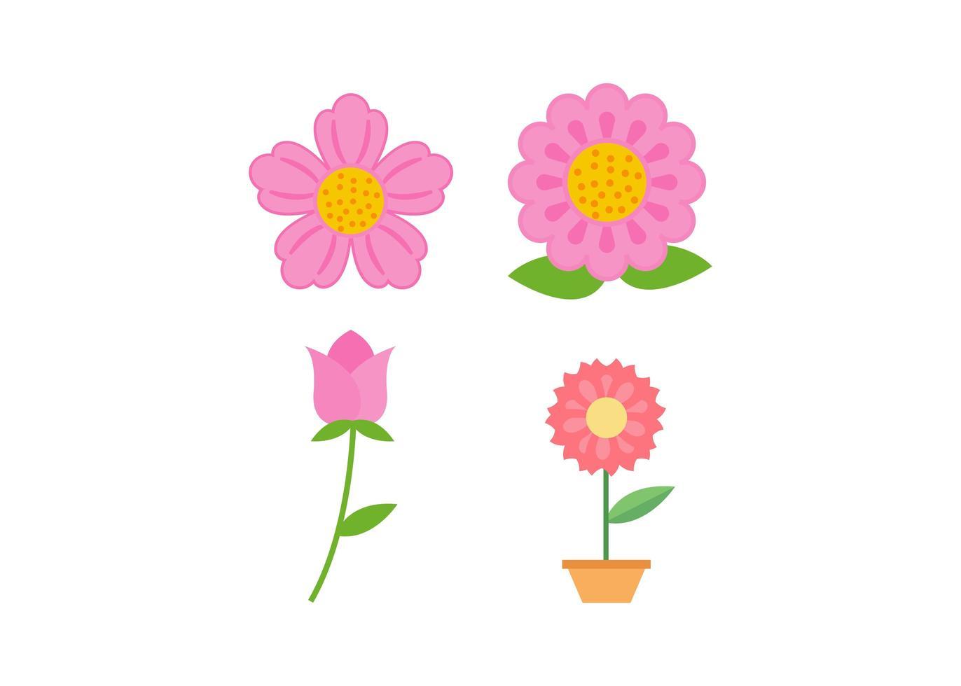 conjunto de diseño de icono de flor vector