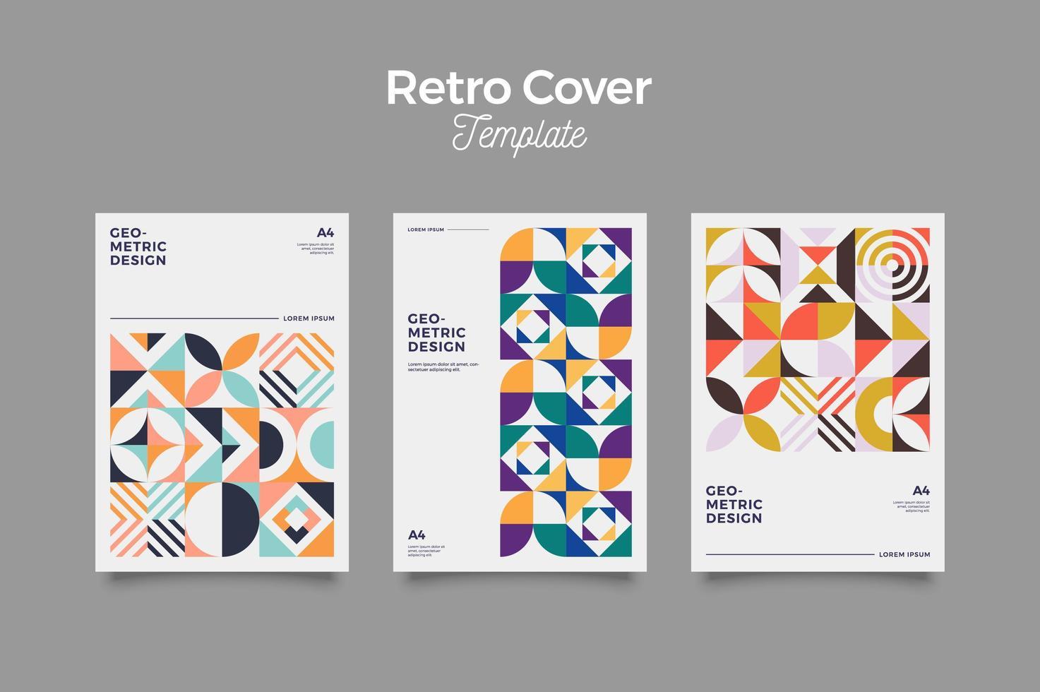 Retro Pattern Cover Design Template vector