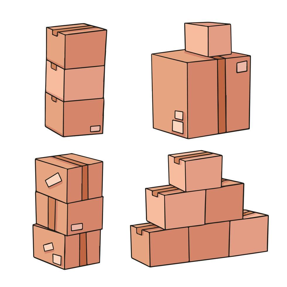 diseño de ilustración de dibujos animados de cajas de cartón vector