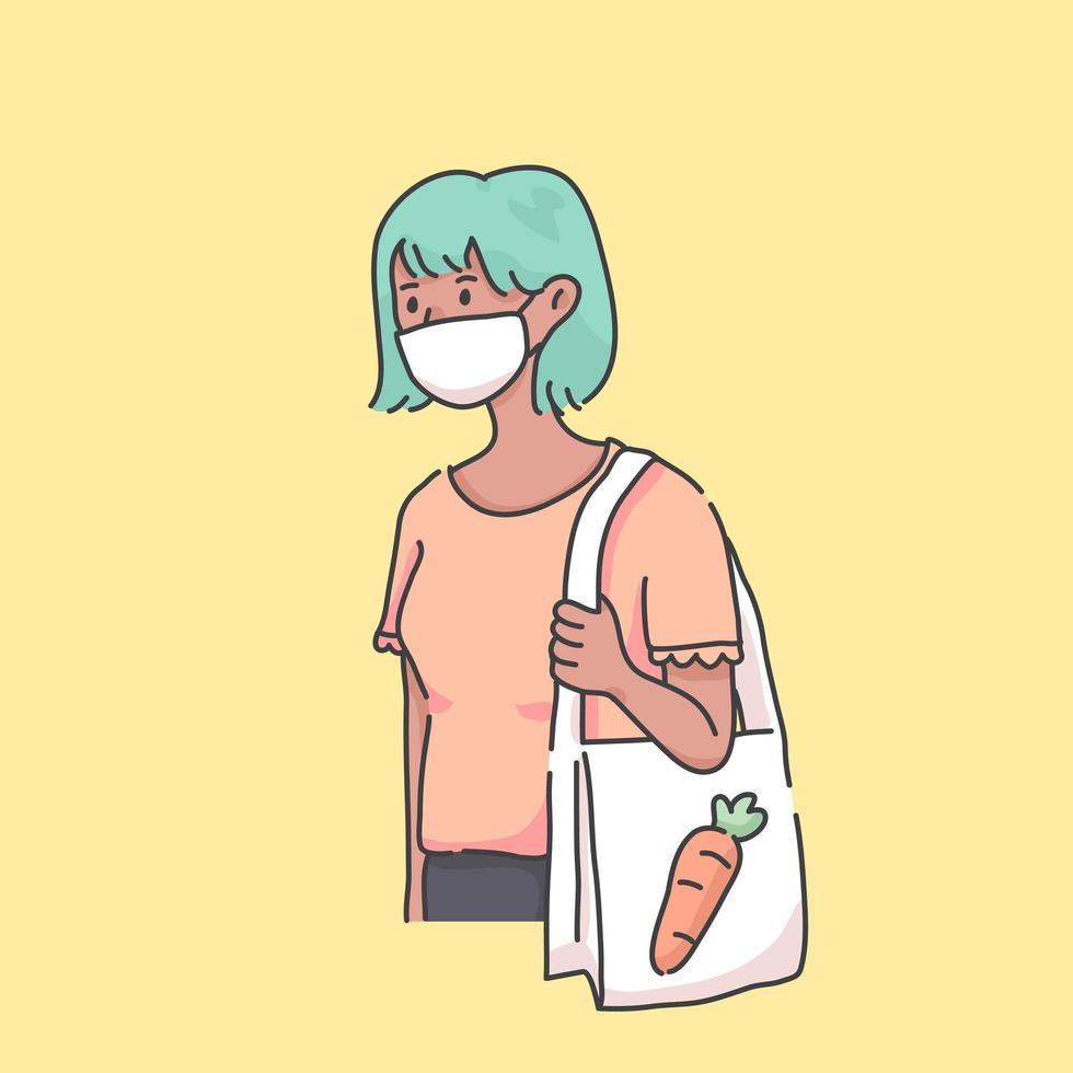 ir a la tienda de comestibles con máscara de virus ilustración vector