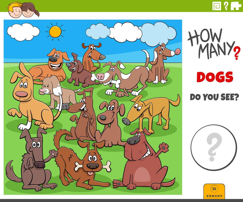 how many dogs educational task for children vector