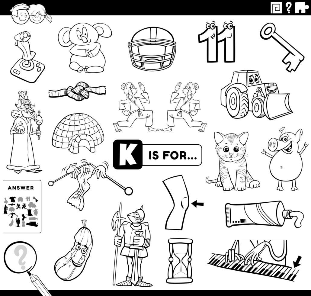 Letra k tarea educativa libro para colorear página vector