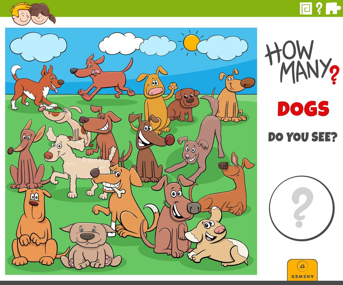 how many dogs educational game for children vector