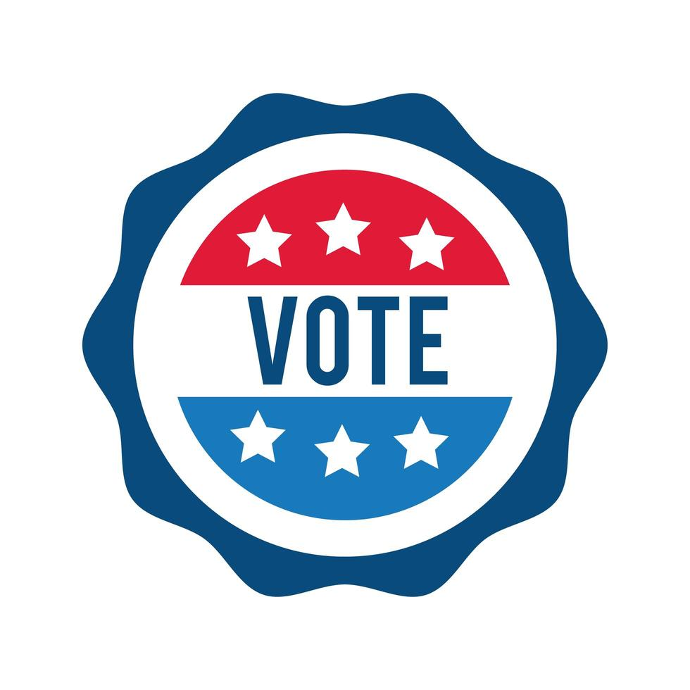 vote lettering on USA stamp flat style icon vector