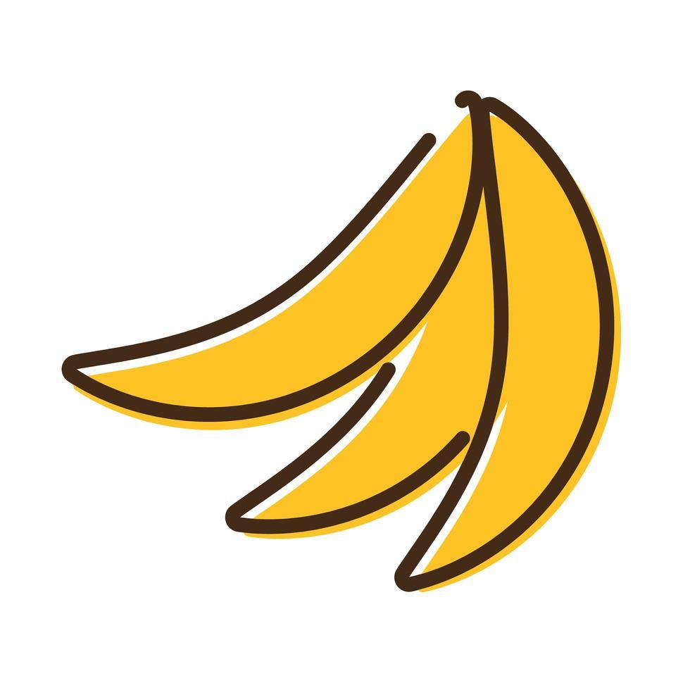 icono de estilo de relleno y línea de frutas de plátano fresco vector