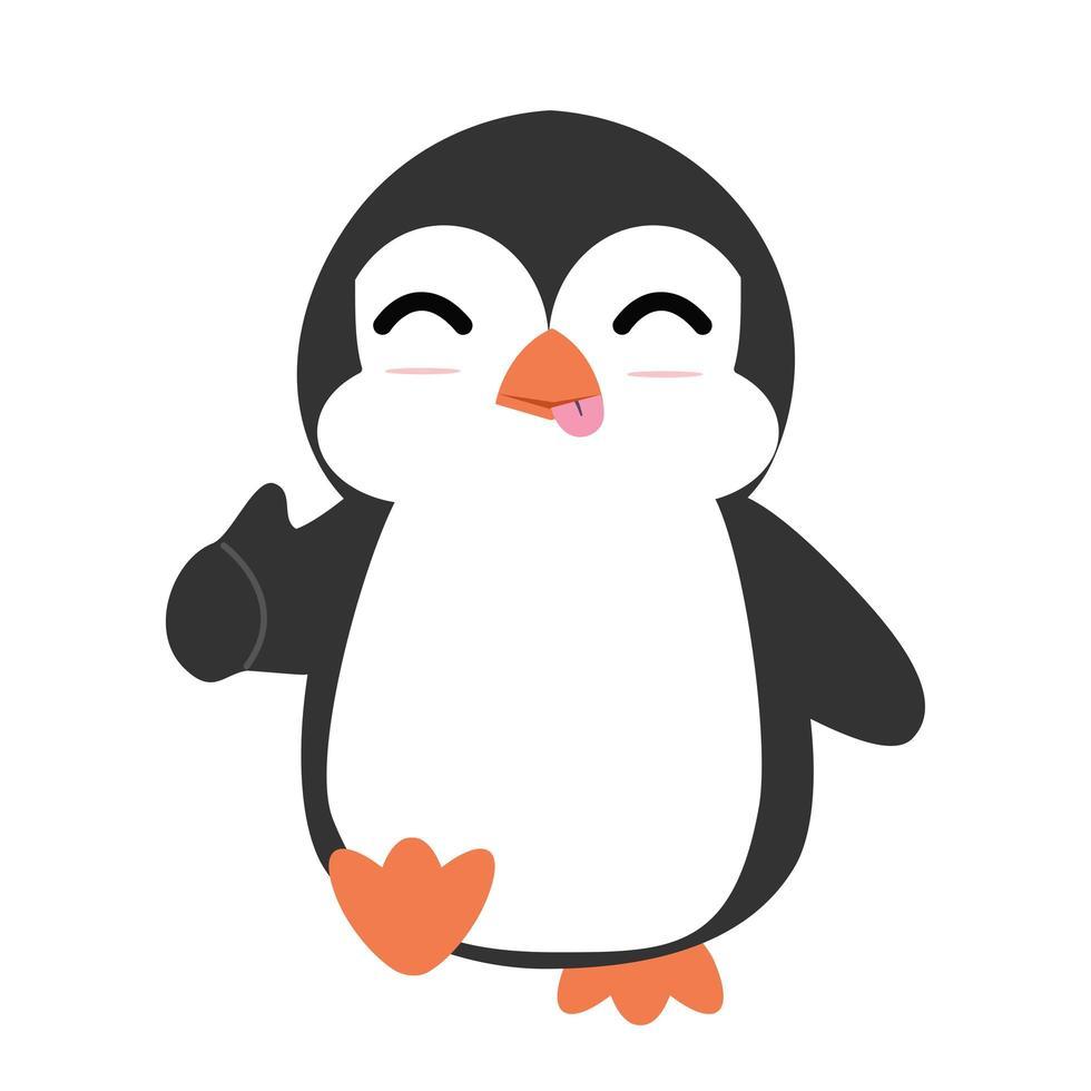 lindo, pingüino, caricatura, con, pulgares arriba vector