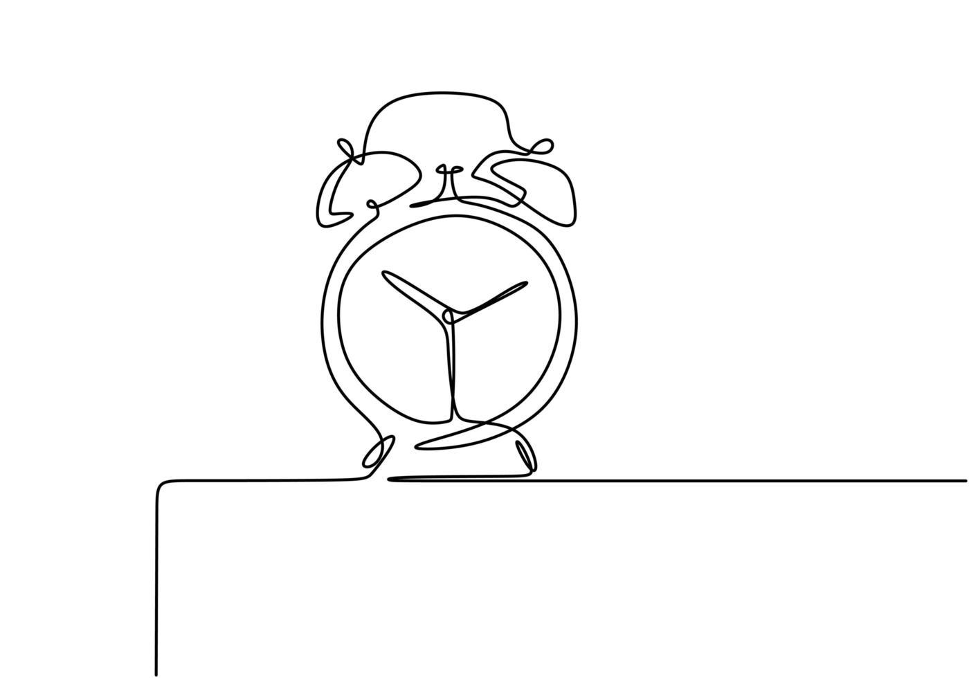 boceto del despertador dibujo continuo de una línea. reloj con icono de flechas sobre fondo blanco. vector