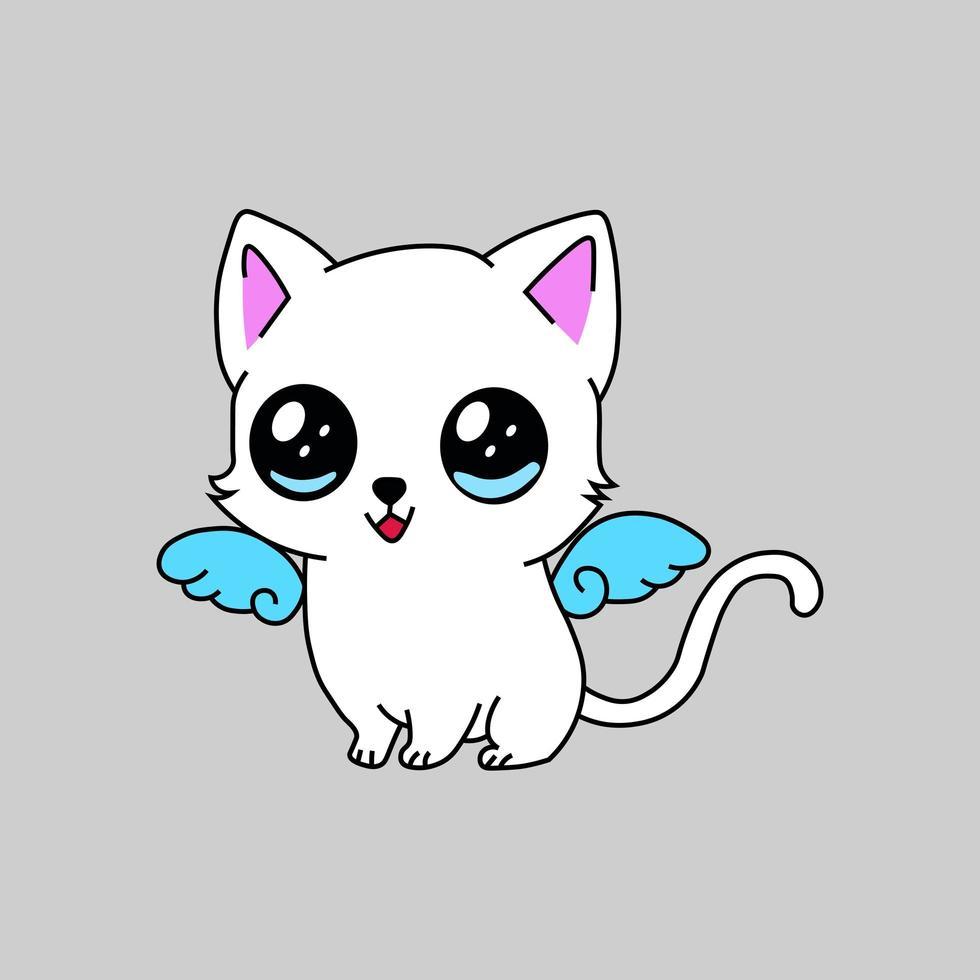 Cute kawaii baby kitten mascot vector