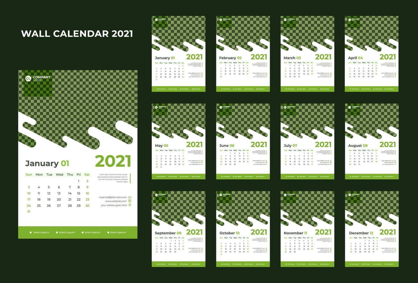 calendario corporativo creativo año nuevo 2021 vector