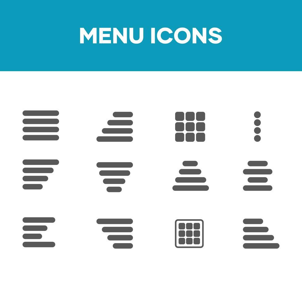 menú conjunto de iconos, icono de vector