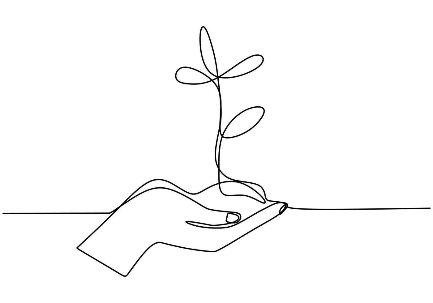 Hand holding plant's pot. Continuous one line drawing of back to nature theme. vector