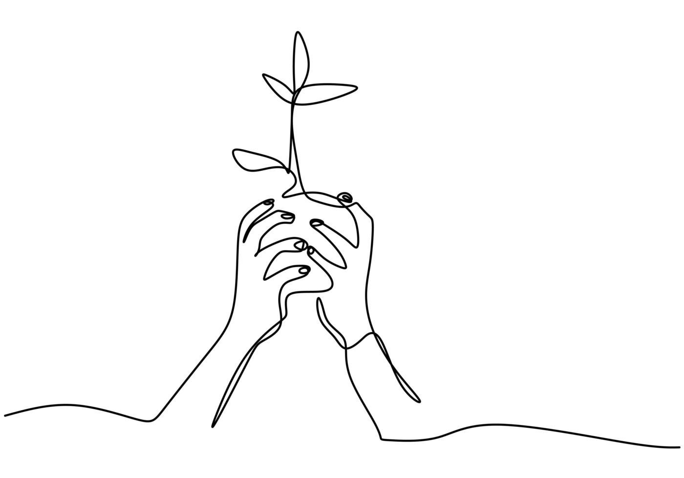 mano sosteniendo la maceta de la planta. dibujo continuo de una línea del tema de regreso a la naturaleza. vector