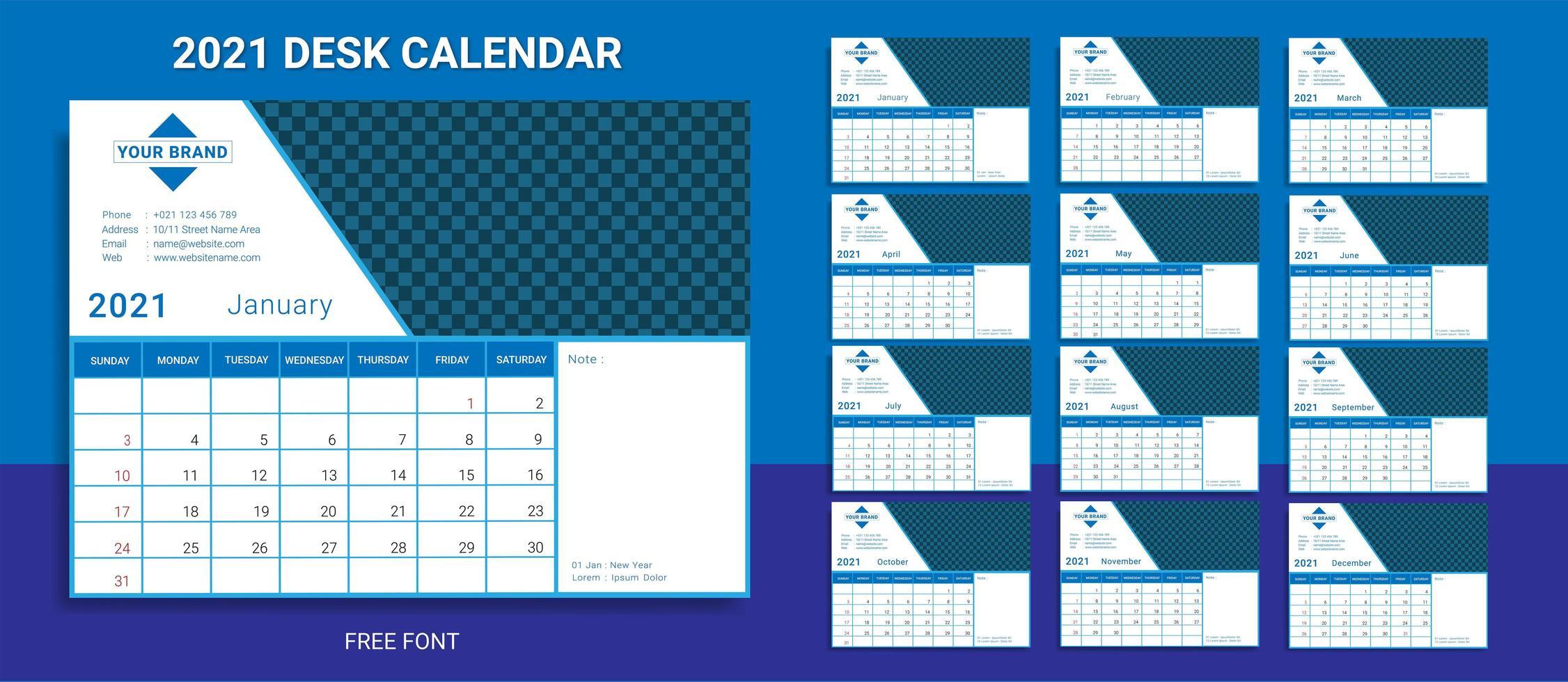 plantilla de calendario de escritorio 2021 vector