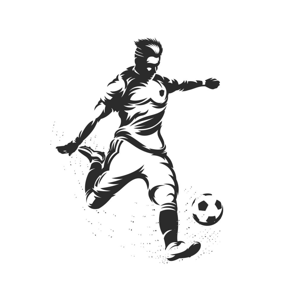 silueta, futbolista, patear vector