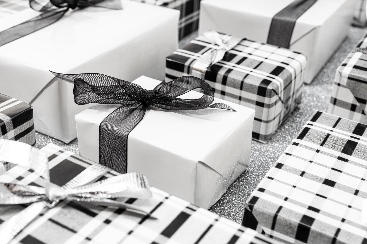 fondo de cajas de regalo de navidad foto