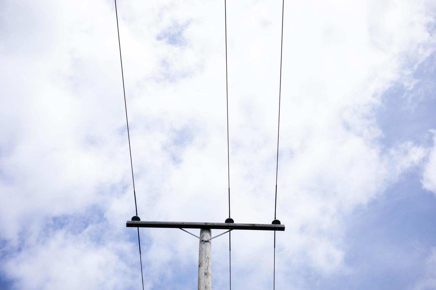 Telephone lines and a blue sky photo