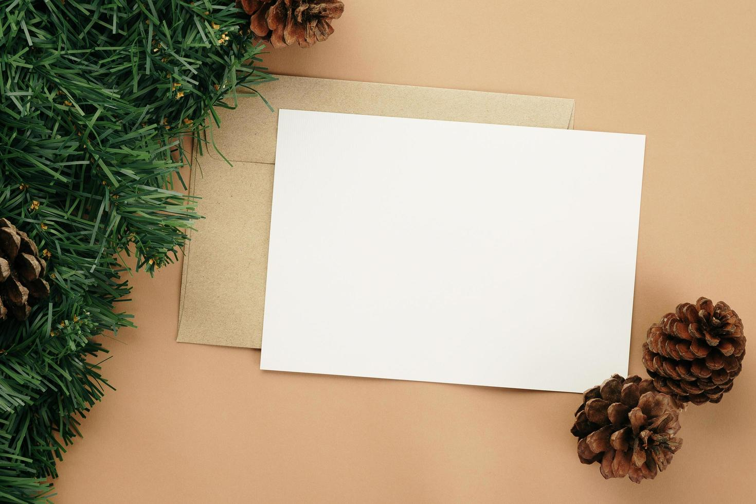 Merry Christmas greeting card and envelope mockup template photo