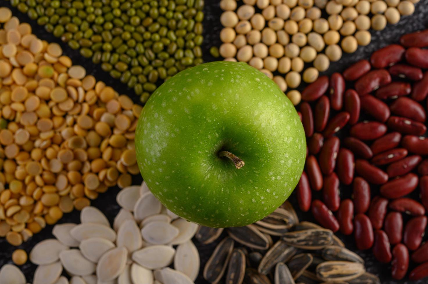 Legumes with an apple photo