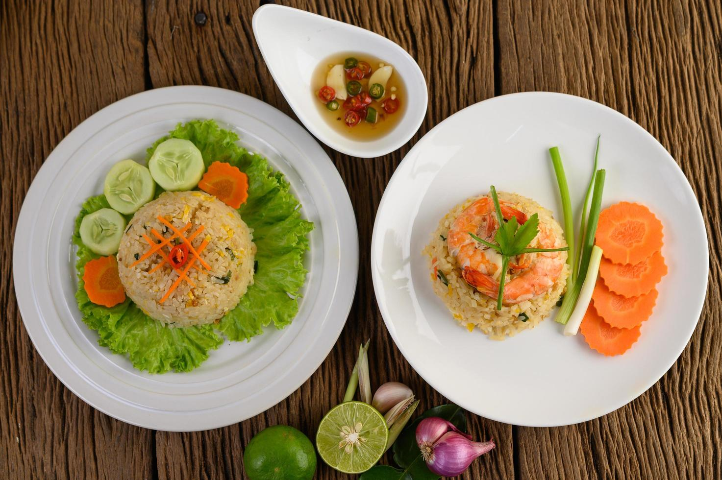 Shrimp fried rice on a white platter photo