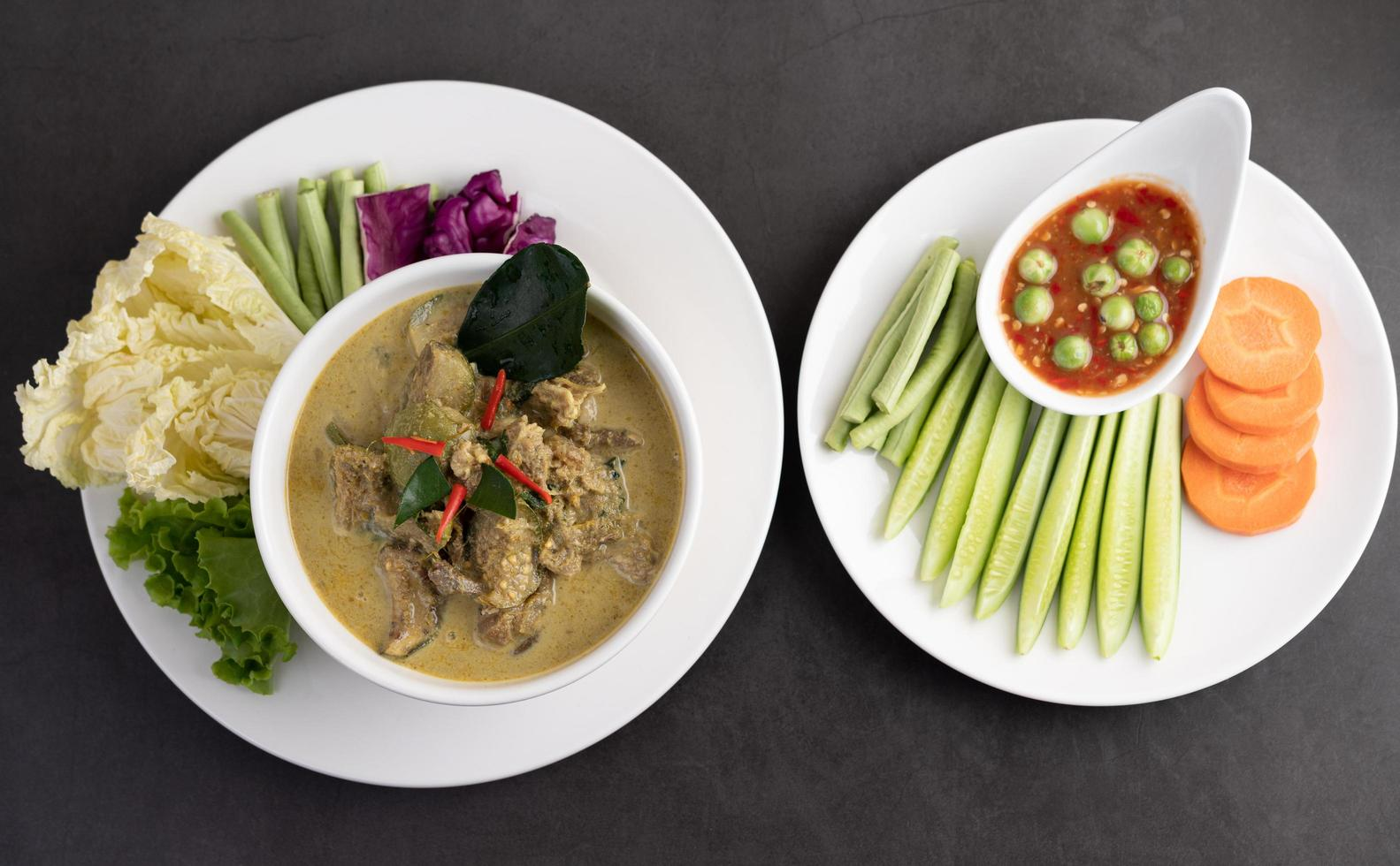 Green chicken curry photo