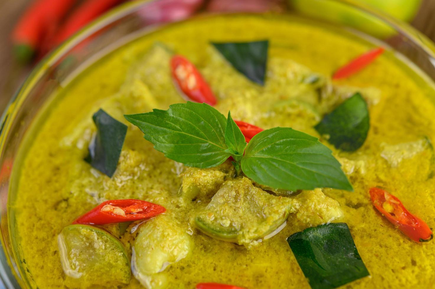 primer plano, de, verde, curry foto