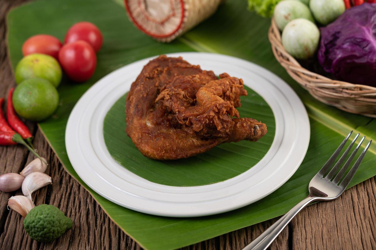 muslos de pollo frito foto