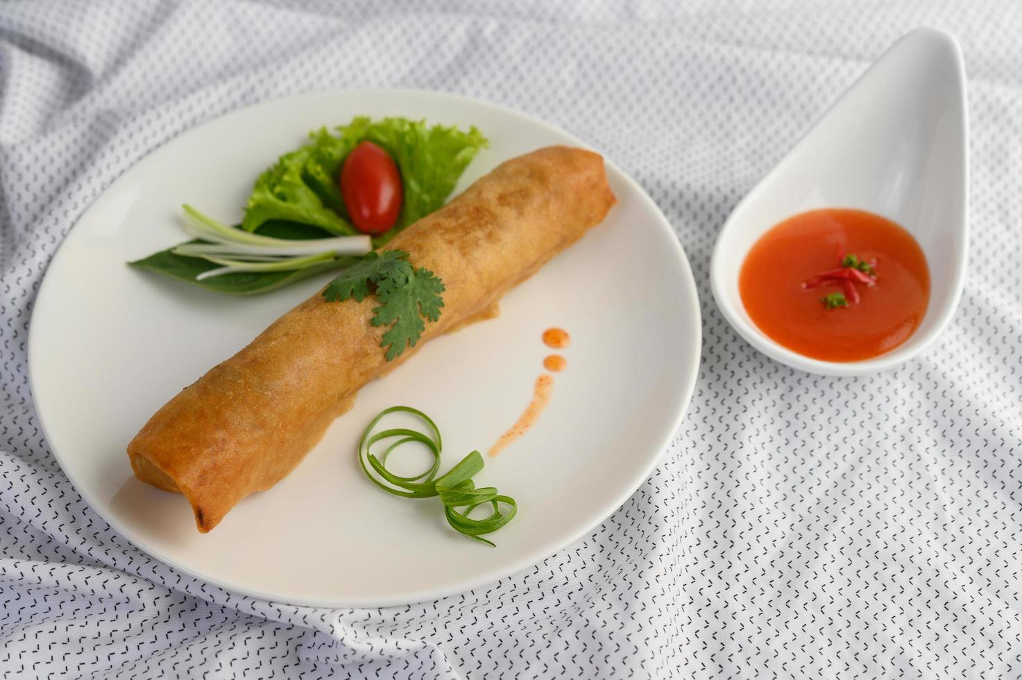 Fried spring egg rolls photo