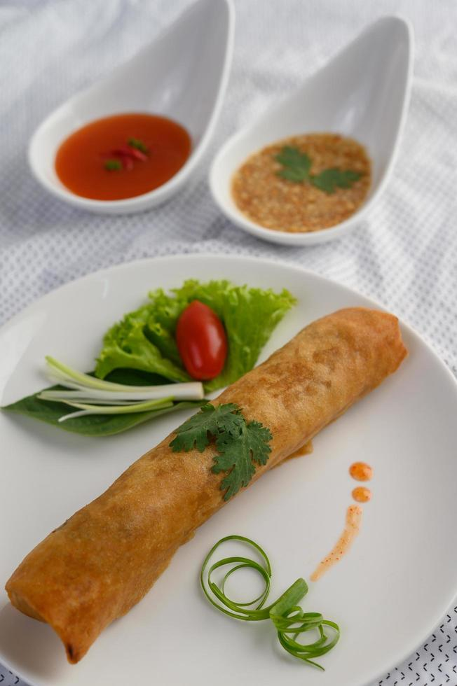 Fried spring egg rolls photo