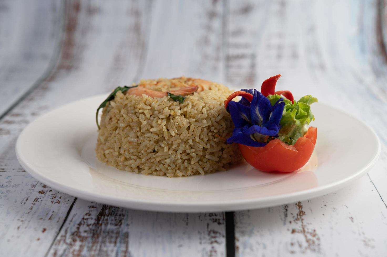 Decorative shrimp fried rice photo