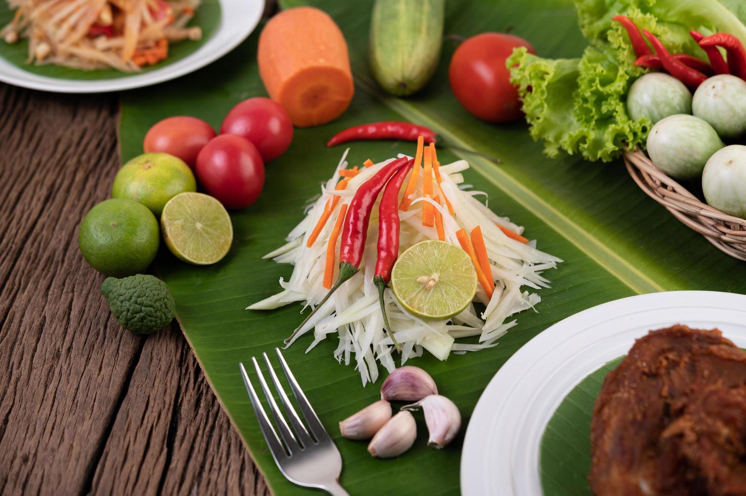 Fresh ingredients for papaya salad photo