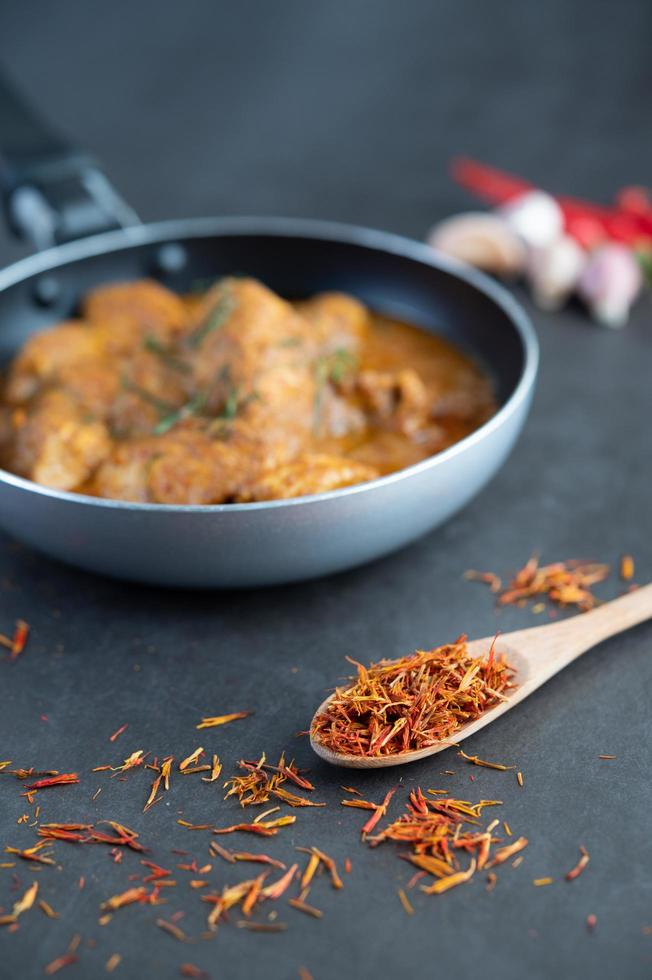 Massaman Thai curry with spices photo
