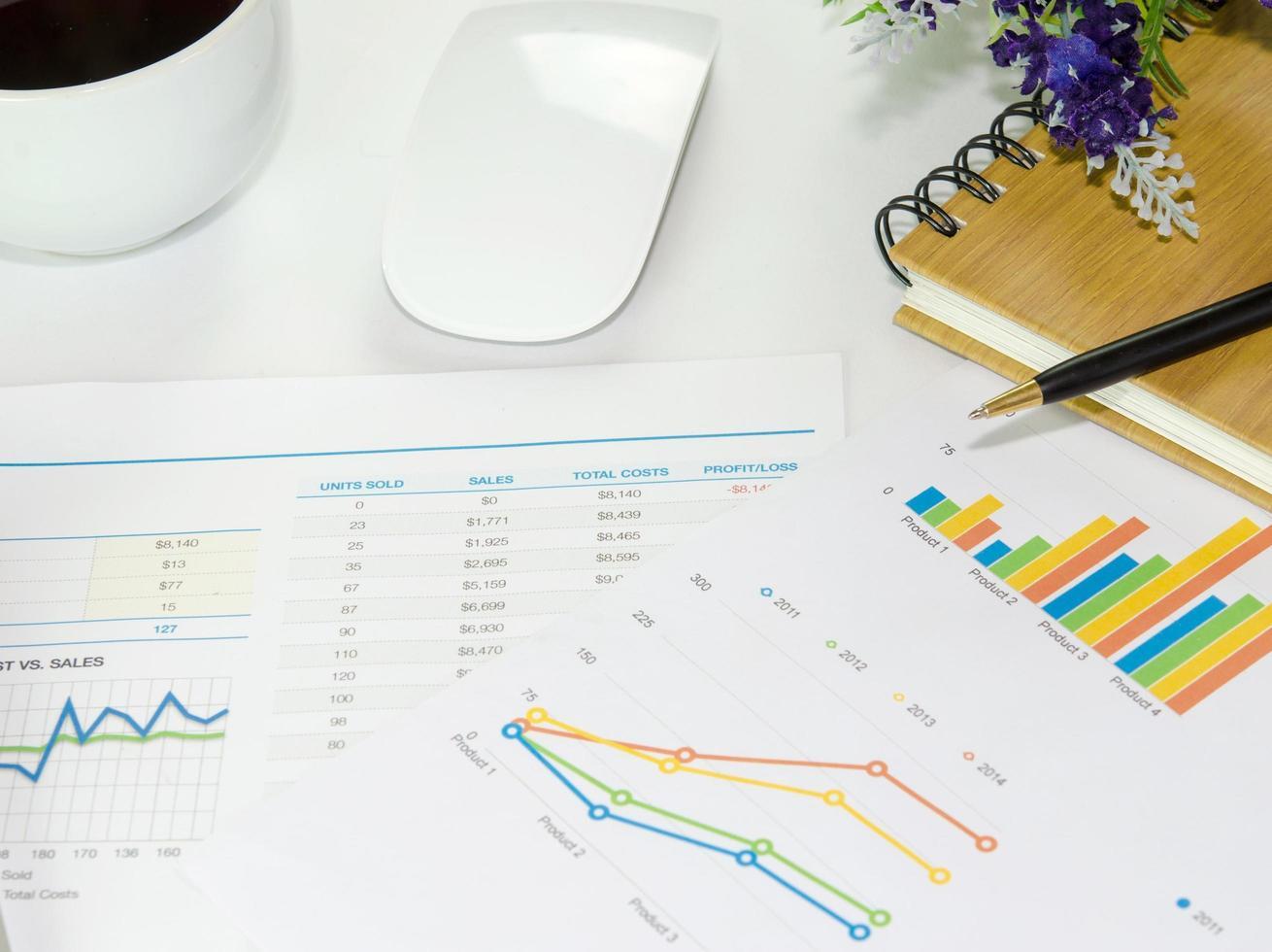 gráficos de negocios en un escritorio foto